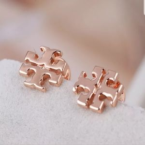 Tory Burch Rose Gold Logo Earrings